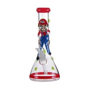 """Buz alıcı 14 mm çanak ve downstem boruları sigara 12"""" benzersiz Mario cam su bonglar kalınlığı Beher Bong su borusu hookah cam"""