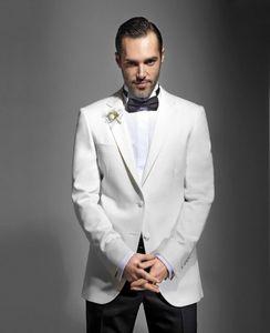 Elegante Noivo Smoking Branco, Bonito Slim Fit Homens Casamento Groomsmen Festa de Negócios Ternos de Baile (Jaqueta + Calça + Gravata) NO: 1139