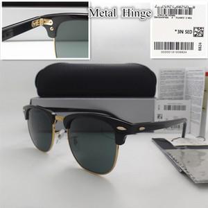 고품질 유리 렌즈 51MM 패션 남성 여성 판자 프레임 코팅 선글라스 스포츠 빈티지 썬은 상자와 안경