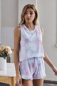 Newclipper Para Pijama Tiedye Mulher Crew Neck Tie Dye Pajama curta Define rosa do laço de alças Giallo Uovo