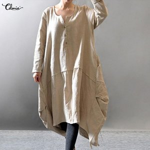 Celmia Frauen Retro Hemd Kleid 2019 Herbst Langarm Solide Leinen Kleider Beiläufige Lose Asymmetrische Midi Vestidos Robe Plus Größe Y190426