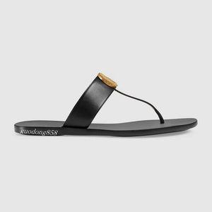 Sandalias de tiras de cuero de moda para hombre y para mujer con detalles dorados zapatillas causales unisex pisos de playa chancletas de goma