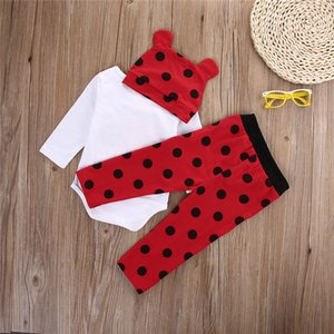 3 PCS Autumn Winter Newborn kids long sleeve Ladybugs Gorillas set Baby Boy Girl Rompers Top Striped Leggings Pants Outfit Set