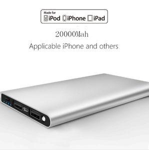 Mobil iphone Android için ultra ince 20000mAH Güç Bankası Pil Emniyet USB Şarj Acil şarj cihazlarını Ücretsiz nakliye telefonlan