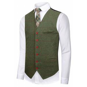 Vendita calda Groom verde Gilet in lana a quadri in tweed Custom Made Slim Fit Mens Suit Vest Gilet da sposa