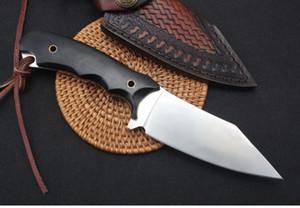 Распродажа! Высокое качество выживания прямой охотничий нож D2 сатин лезвия Full Tang Ebony Ручка фиксированным лезвием Ножи с кожаной оболочкой