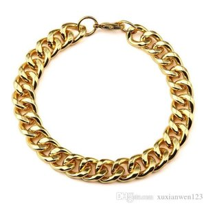 Hot Chain & Link Bracelet 1.1cm Width Gold Wristband Fashion Men Hip Hop Jewelry Chains Bangle Women Men Jewelry