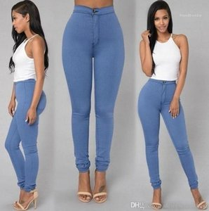 Matita dei pantaloni colori caramella Womens Skinny Jeans Zipper lavato a vita alta Womens pantaloni casual