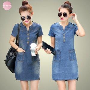 Plus Size 5Xl Summer Dress Denim Dresses Women V Neck Short Sleeve Slim Jeans Style With Pockets Women Clothing
