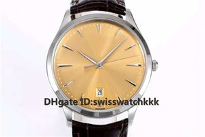 ZF Yeni Q1288420 Saatı İsviçre 899 Otomatik Safir Ultra İnce Paslanmaz Çelik Kasa dana derisi kayış şeffaf kılıf geri Mens Watch