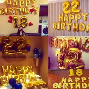 Şekil Balon Folyo 40 İnç yaşında Helyum Ballon Numarası Mutlu 18 Doğum Topu Balon Parti Dekorasyon Baloons Globos
