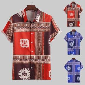 Summer Fitness Equipments Fitness Supplies 2020 Man Fashion Casual Loose Hawaiian Shirt Lapel Print Short Sleeve Shirt Top Blouse Beach cami