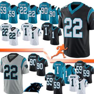 Carolina 22 Christian McCaffrey Jersey Panther 1 Cam Newton 59 Luke Kuechly 90 Julius Peppers Football Maillots gris 1 Piece Top qualité 2020