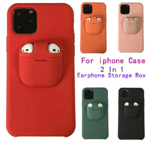 2 en 1 caja del teléfono del auricular de la caja de almacenaje de silicona para el iPhone 11 pro MAX Airpods 13 colores envío