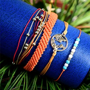 Weave string multilayer bracelet world map Charm women bracelets fashion jewelry beach summer bracelet