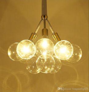 Bolas de vidro modernas levou pingente candelabro luz para sala de jantar sala de estudo casa deco pendurado luminária luminária