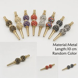 New Arrivial 10 cm length random color mini metal pipe detachable ice gold hookah mouthpiece diamond-set Arabian hookah accessories