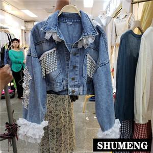 Heavy Hand-stud Beaded Gauze Lace Embroidered Short Denim Coat Women 2019 Autumn New Diamond Tassel Jeans Jacket Outwear