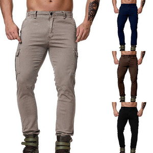 Luxury Mens Cargo Jeans Casual Solid Color Long Pants Fashion Straight Washed Jeans Male Zipper Pants