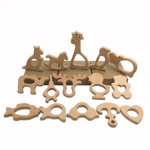 Bois Jouets bébé Teething Teether numéro de lettre en bois animaux Tétines bois de hêtre Pacifier Bricolage Pendentif en bois Accessoires Z0092