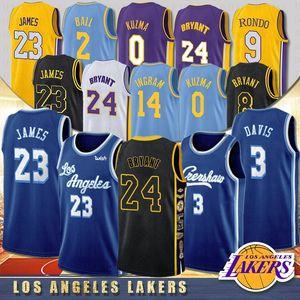 NACC Los Angeles Lakers 23 LeBron James 3 Anthony Davis Kobe 24 Bryant Herren Kids University Basketballtrikots 0 Kyle Kuzma 8 Bryant 14 Ingram 2 Ball Herren Kid 2020 Neu