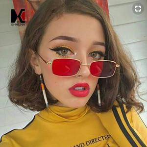 SHAUNA Mode Femmes Rectangle Lunettes de soleil Retro Metal Frame Hommes clair lentille jaune Shades UV400