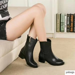 2019 large size women's fashion leather round head high heels ladies sexy tube Martin boots spring and autumnbootsBotas de mujer