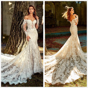2020 Vintage Lace Mermaid Wedding Dresses Off Shoulder Backless Bridal Gowns With Long Sleeves Beaded Court Train Vestido De Novia BC3457