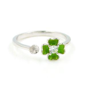 S925 стерлингового серебра кольца фитинги DIY Sterling Silver Pearl палец кольцо с регулируемыми зелеными эмалевыми цветами на 6-8 мм жемчуга PS4MJZ025