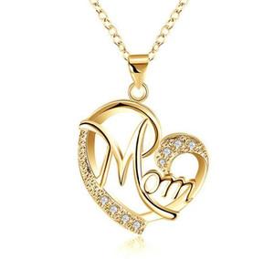 Amor mamá regalo mamá collar plateado regalo de joyería para madre mamá letras corazón colgante collar al por mayor