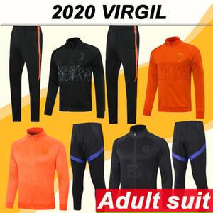2020 Hollanda Erkek Tam zip Ceket Futbol Formalar Suit Yeni Milli Takım VIRGIL VAN DIJK DE ligt MEMPHIS Siyah Turuncu Seti Futbol Gömlek