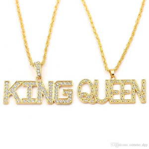 Hip Hop Her King And His Queen Couple Necklaces For Women Men Iced Out Letter Pendant Gold Chains Hiphop Rapper Jewelry Gift