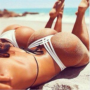 bayanlar için sıcak satış Seksi Kadınlar bikini altı düz renk G-String Brezilyalı Tangalar Mayo yüksek bel Mayo Alt yüzme şort