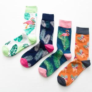 Marque Mens Happy Chaussettes 4 paires / Lot Coton Peigné Flamingo Carton 4 Couleur Drôle Chaussettes Automne Hiver Crew Casual Men Compression Sock