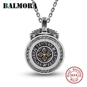 Balmora argento 925 Buddismo Six Words' Sutra del Vajra girevole Sospensioni di uomini delle donne gioielli senza catena