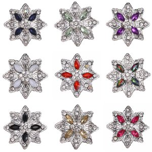 10pcs / lotto dei tasti di fiore di Snap nuovo cristallo Fit 18 millimetri di metallo Snap Button BRACCIALE Pulsante Gioielli