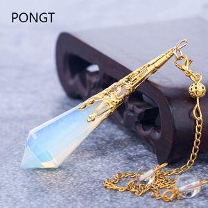 kuvars Opalite opal pendulos kutsal geometri şifa kristalleri kolye takı V191128 maden için yüksek kaliteli doğal taş sarkaç