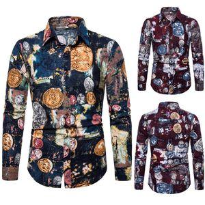 남자 캐주얼 셔츠 옷깃 꽃 셔츠 패션 슬림 유럽 잎 인쇄 젊은 긴 소매 남자를위한
