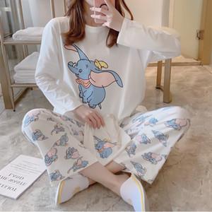Cotton 2019 Autumn and Winter Sweet Cartoon Print Pajamas Women Sexy Lingerie Sets Sleepwear Nightwear 2 Pieces Home Clothing