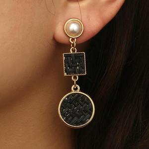 Mode perle Exagéré géométrique Vintage géométrique corde de chanvre tissage Boucles d'oreilles longues Dangle pour femmes Bijoux Parti