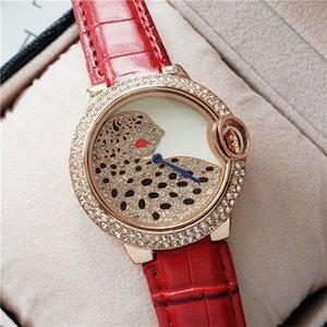 Hot Brand 38MM Diamond Dial Womens Red Leather Watch Luxury Quartz Movement Waterproof Fashion Casual Dress Watch Reloj Mujer