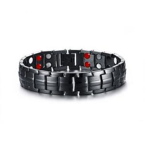 Ligne de remorquage 4 santé Éléments d'énergie Bracelet bijoux pour hommes chaîne noire en acier inoxydable Lien Magnet Bracelets thérapie