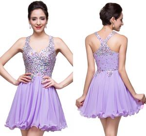 2020 Lavender Em armazém elegante linha de chiffon Mini vestido Homecoming Vestidos festa de formatura de cristal Shinny curto Evening Bata o desgaste CPS168