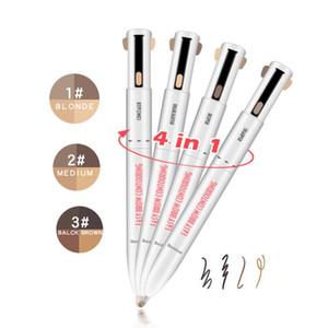 1 adet 4 1 Kaş Kalemi Easy Kullanım Döner Eyeliner Kalem Uzun ömürlü su geçirmez Döner Kaş Makyaj Kalem Dudak Kalemi Renk Tonu Natural Pressed
