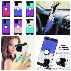 360 Car Holder Finger Ring Bracket PC+TPU Case For Samsung Galaxy A91 A81 A51 A21 Shock Against Hybrid Defender Gradient Phone Skin Cover