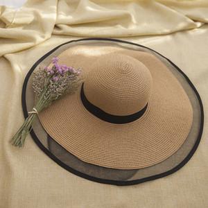 Plage Chapeau de paille Chapeau de soleil Cap Femme Été Ombre Crème solaire Big Brim paille Voyage Sun Seaside sauvage vacances plage