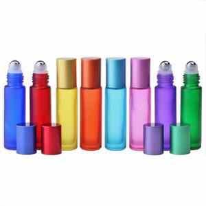 병 트래블 사이즈 병에 10ml의 유리 에센셜 오일 롤러 병 레인보우 시리즈 젖빛 유리 향수 롤
