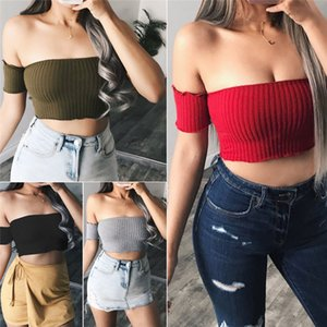 Fashion Casual Slim Solid Sexy Women Off Shoulder Tank Top Vest Sleeveless Crop Top Summer Pullover Clothes For Girls