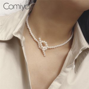 Comiya Fashion Necklaces For Women Zinc Alloy Links Chains Acrylic Pearls Beads Statement Maxi Necklace Bijoux Pendant
