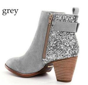 Moda Seksi Ayak bileği Boots Kadınlar ışıldamaya Kalın Topuklar Martin Patik Tasarımcı Lady Bükülmüş Sivri Burun Kutusu Yan Fermuar Ayakkabı